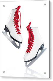 White Ice Skates With Red Laces Acrylic Print
