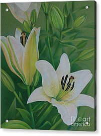 Acrylic Print featuring the painting White Lily by Pamela Clements