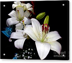 Acrylic Print featuring the photograph White Lilys by Elvira Ladocki