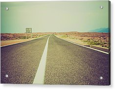 White Line On A Main Road Acrylic Print