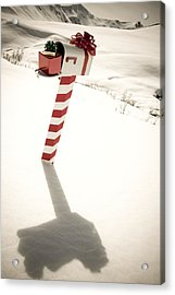 White Mailbox Decorated For Christmas Acrylic Print by Kevin Smith