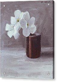 White Acrylic Print by Mary Adam