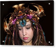 Acrylic Print featuring the digital art White Meat And Bones Tiara by Otto Rapp