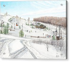 Acrylic Print featuring the painting White Mountain Resort by Albert Puskaric