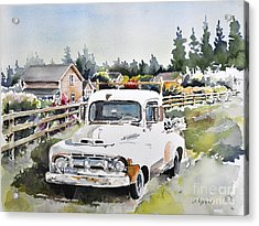 White Old Truck Parked Over The Fench Acrylic Print