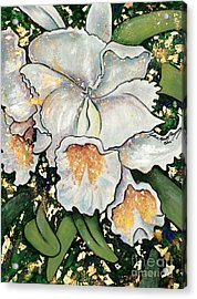 Acrylic Print featuring the painting White Orchids by Cynthia Parsons
