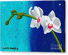 Acrylic Print featuring the painting White Orchids On Blue by Laura Forde