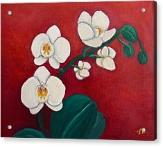 White Orchids Acrylic Print by Victoria Lakes