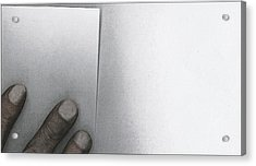 White Paper Dirty Fingers Acrylic Print by Bob RL Evans