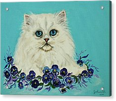 Acrylic Print featuring the painting White Persian In Pansy Patch Original Forsale by Bob and Nadine Johnston