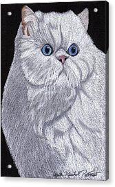 White Persian Vignette Acrylic Print by Anita Putman