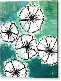 White Petunias- Floral Abstract Painting Acrylic Print by Linda Woods