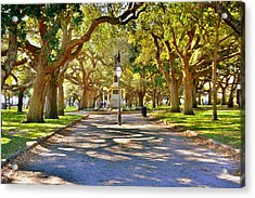 White Point Gardens At Battery Park Charleston Sc Hdr Acrylic Print