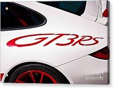 White Porsche Gt3rs - Rear Quarter Acrylic Print