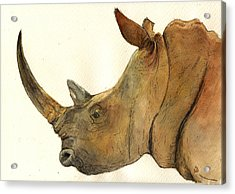 White Rhino Head Study Acrylic Print by Juan  Bosco