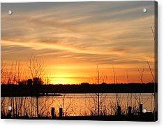 White Rock Lake Sunset Acrylic Print by Lorri Crossno