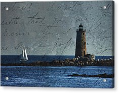 Acrylic Print featuring the photograph White Sails On Blue  by Jeff Folger