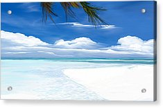 Acrylic Print featuring the digital art White Sand And Turquoise Sea by Anthony Fishburne