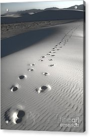 White Sands New Mexico Footsteps Acrylic Print by Gregory Dyer