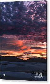 White Sands Sunset Acrylic Print by Sandra Bronstein