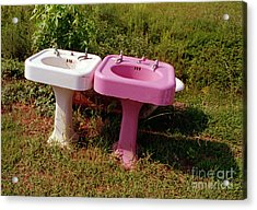 White Sink  Pink Sink Acrylic Print by Tom Brickhouse