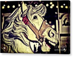 White Steed - Antique Carousel Acrylic Print