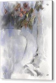 White Still Life Vase And Candlestick Acrylic Print
