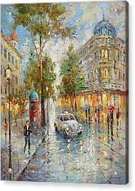 White Taxi Acrylic Print by Dmitry Spiros