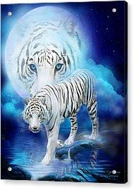 White Tiger Moon Acrylic Print