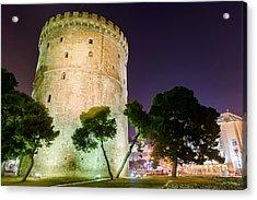 White Tower In Salonica Greece Acrylic Print by Sotiris Filippou