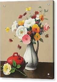 White Vase And Red Box Acrylic Print by Felix Elie Tobeen