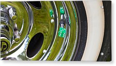 Acrylic Print featuring the photograph White Wall Tyre Chrome Rim And Dice by Mick Flynn