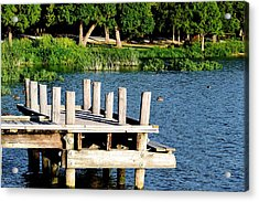 Whiterock Lake Pier Acrylic Print