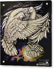 Whites Acrylic Print by Linda Simon