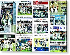 Who Dat Headlines Acrylic Print by Benjamin Yeager