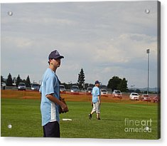 Who Has The Ball Acrylic Print by Valerie Shaffer
