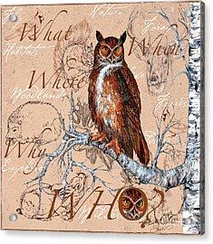 Who Owl Acrylic Print