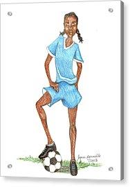 Who Says Black Girls Don't Play Soccer Acrylic Print by Lynn Darnelle