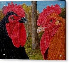 Acrylic Print featuring the painting Who You Calling Chicken by Karen Ilari