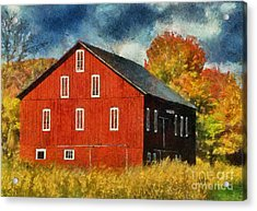 Why Do They Paint Barns Red? Acrylic Print by Lois Bryan