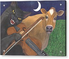 Wicked Kittys Got The Fiddle Acrylic Print by Catherine G McElroy