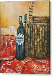 Wicker And Wine Acrylic Print by Cynthia Parsons