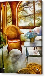 Wicker Chair And Cyclamen Acrylic Print by Michelle Calkins