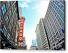 Wide Angle Photo Of The Chicago Theatre Marquee And Buildings  Acrylic Print