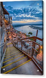 Wide Angle View Of The Oasis And Lake Travis - Austin Texas Acrylic Print