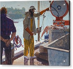 Wieghing The Catch Graymouth Acrylic Print by Terry Perham
