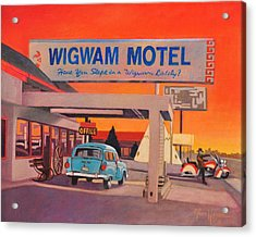 Acrylic Print featuring the painting Wigwam Motel by Art James West