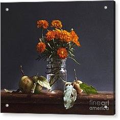 Wild Apples And Marigolds Acrylic Print by Larry Preston