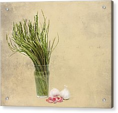 Wild Asparagus And Garlic Acrylic Print by Angela Bruno