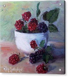 Acrylic Print featuring the painting Wild Blackberries by Cheri Wollenberg
